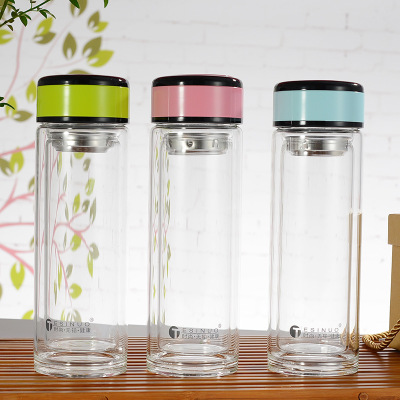 CO/_ 300ml Transparent Plastic Square Leak-proof Juice Outdoor Travel Water Bottl
