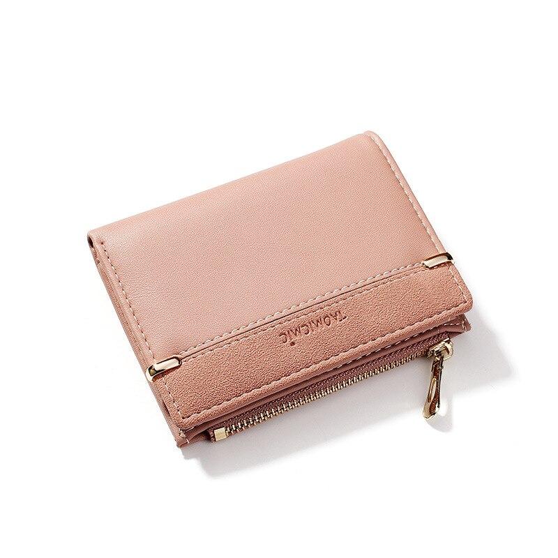 Женские кошельки, кожаный женский кошелек, мини-кошелек на застежке, Одноцветный держатель для нескольких карт, модные короткие кошельки для монет, тонкий маленький кошелек на застежке-молнии - Цвет: Pink