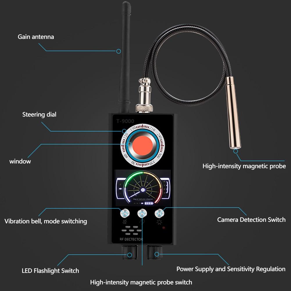 Détecteur de bogue sans fil sonde magnétique détecteur de caméra Tracker multifonction automatique Audio Portable Scanner RF Signal Anti espion GPS