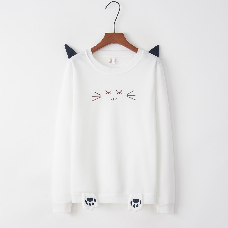 Cat Ear 2020 New Design Hot Sale Hoodies Sweatshirts Women Casual Kawaii Harajuku Sweat Girls European Tops Korean