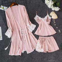 Ночное белье, женское сексуальное ночное белье, женское шелковое кружевное платье, ночная рубашка, пижама, набор, одежда для сна для женщин, 3 шт