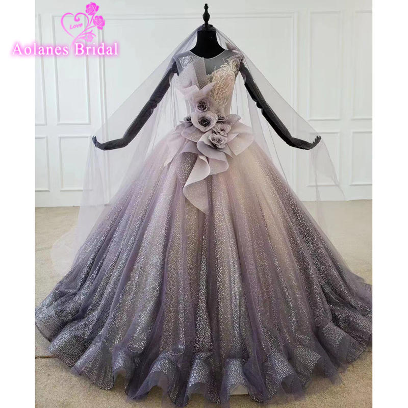 2020 Gorgeous Iace Purple Ball Gown Prom Dresses Strapless Glitter Fabric Middle East Arabic 16 Girls Formal Party Wear Gowns