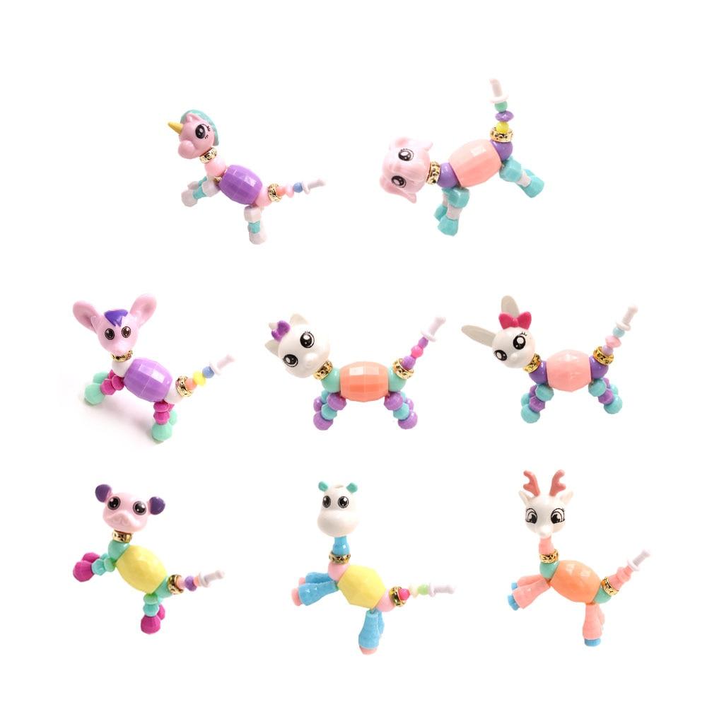 Diy Cartoon Unicorn Bracelets Collection Toy Girls Beads Wristband Magic Animals Deformation Toys For Children Kids Xmas Gift