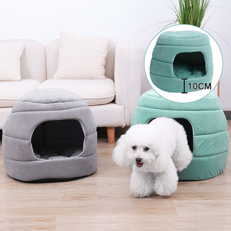 2 Way Use Pet Bed Dog Cat Foldable Sofa Dome Igloo Cave Scratch-Proof House Pup Kitten Removable Cushion Camas Para Perros