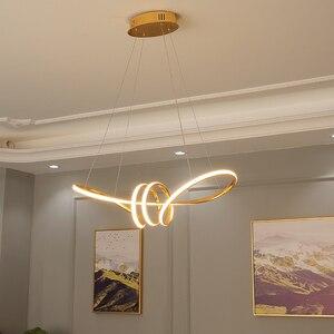 Image 5 - Lustre Led suspendu au design moderne, avec placage or chromé, luminaire décoratif dintérieur, idéal pour une salle à manger, une cuisine, un salon