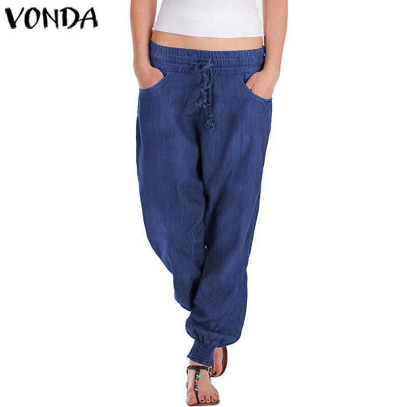 VONDA 2019 Autumn Summer Pants Casual Demin Wide Leg Long Pants Plus Size Party Beach Women's Trousers Harem Trousers S-5XL