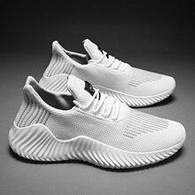 2019 novos sapatos casuais homem tênis leve respirável sem deslizamento sapatos masculinos moda malha de ar rendas até calçados esportivos resistentes ao desgaste