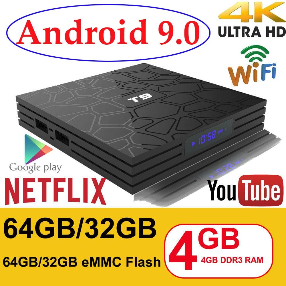 Android 9.0 TV BOX T9 Smart TV BOX 4K Set Top Box Quad Core 4GB RAM 32G 64GB ROM H.265 USB 3.0 Google Player Store Youtube TVBOX