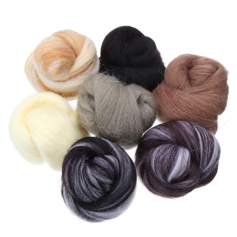 7 teile/satz Gemischt Farbe Filzen Wolle Faser Nadel Filzen Natürliche Sammlung Für Tier Projekte Filzen Wolle für Hand 35g