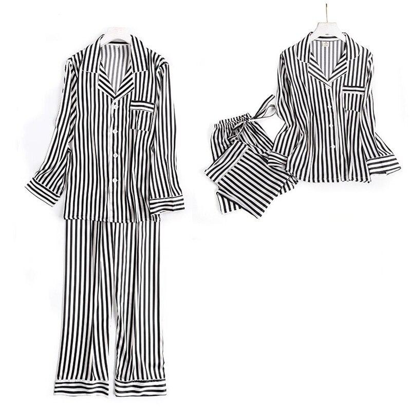 Image 2 - Black white stripes pajama sets women long sleeve casual sleepwear fashion women pyjamas autumn homewear hot sale 2019Pajama Sets   -