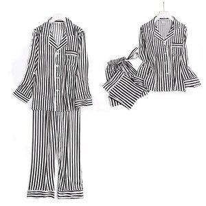 Image 2 - 블랙 화이트 줄무늬 잠옷 세트 여성 긴 소매 캐주얼 잠옷 패션 여성 잠옷 가을 homewear 뜨거운 판매 2019