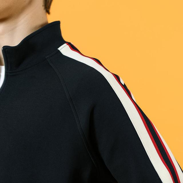 Navy blue Sweatshirts with contrast lines and zipper