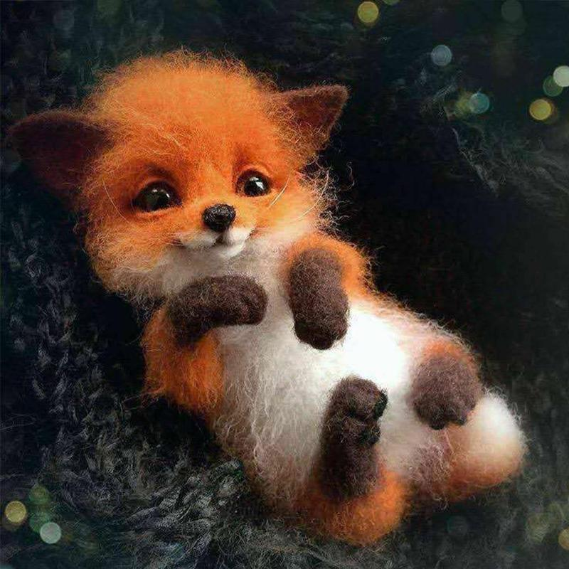 Wool Felt Brooch Handmade Material Cat Fox Dog Raccoon Squirrel Big Ear Animal Brooch DIY Material Bag Felt Craft Diy Gift