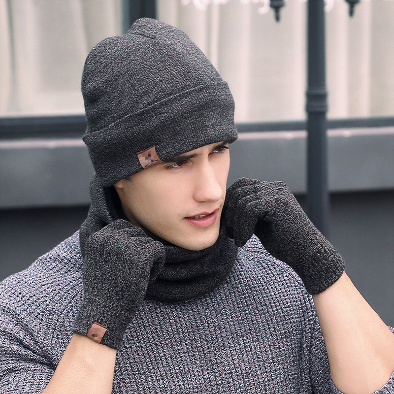 Winter Beanie Hat For Female Beanies Hat Women Scarf Gloves Pcs Hat Warm Scarf Set Hat Men 3 Set Scarf Skullies Male