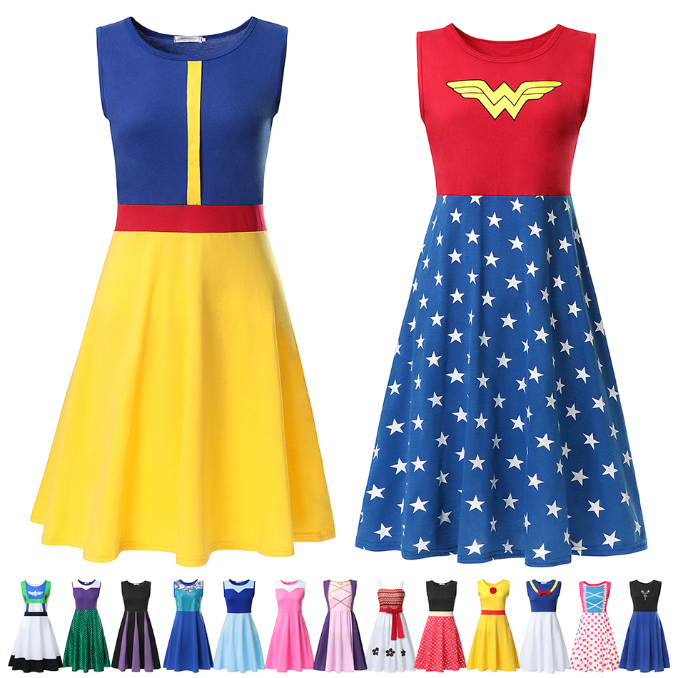 Adult Princess Dress Mom Women Cosplay Costume Snow White Wonder Women Belle Anna Elsa Rapunzel Ariel Maleficent Minine Dress Up