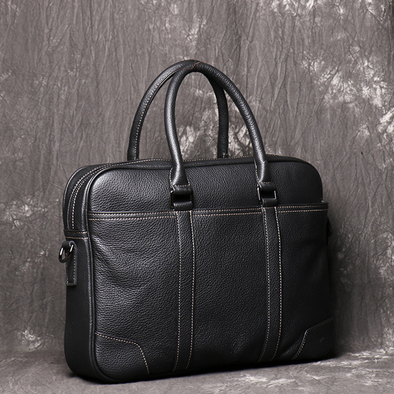 Full Grain Leather Men Briefcase Leather Tote Laptop Bag Large Capacity Business Shoulder Bag