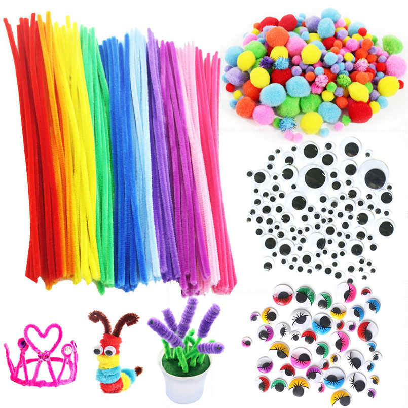 DIY Colorful Plush Stick Soft Fluffy Pompoms Handmade Art Crafts Toys For Kids  Doll Eyes Toy Accessories Baby Creativity Gifts