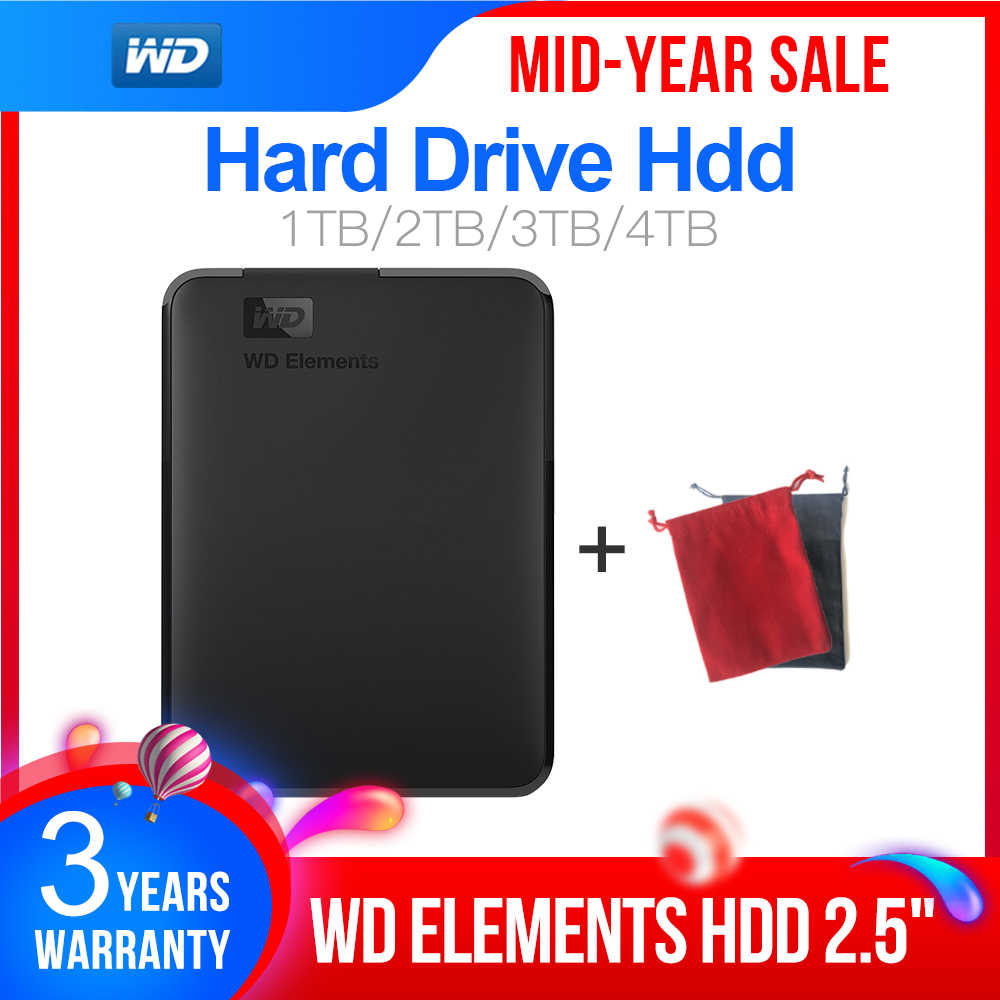 "Western Digital WD Elements 2.5 ""Portable 1 to 2 to 3 to 4 to USB3.0 Disque dur externe Hdd Disco Duro Externo Disque Portable"