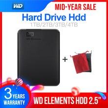 """ويسترن ديجيتال WD Elements 2.5 """"المحمولة 1 تيرا بايت 2 تيرا بايت 3 تيرا بايت 4 تيرا بايت USB3.0 قرص صلب خارجي Hdd ديسكو دورو Externo Disque المحمولة"""