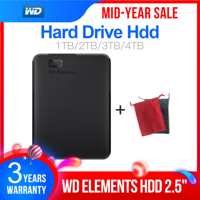 "Western Digital WD Elements 2.5 ""1 TB 2TB 3TB 4TB USB3.0 Ngoài HDD disco Duro Externo Disque Di Động"