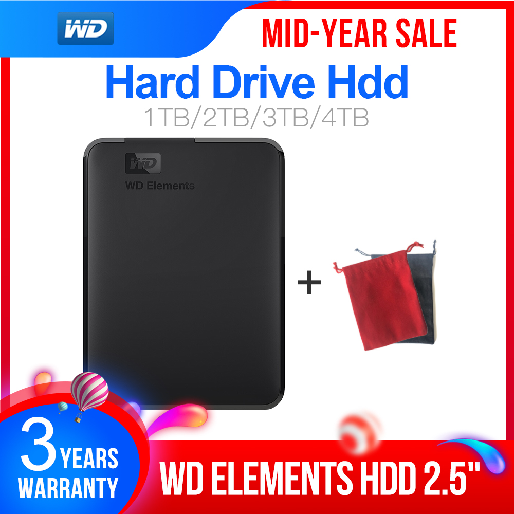 WD External-Hard-Drive Hdd Disco 4TB Externo Duro Wd-Elements Portable 1TB 2TB USB3.0 title=