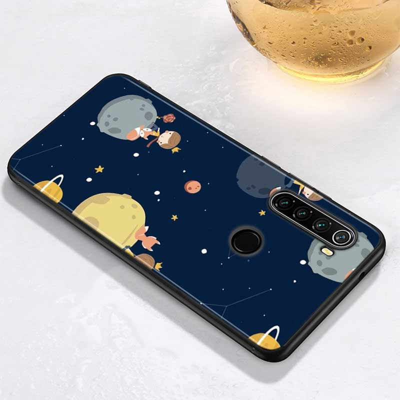 Black Cover for Xiaomi Redmi Note 9 8 7 6 Pro Shell Cute little prince for Redmi Note 5 Pro 5A 4 4X Luxury Back Case