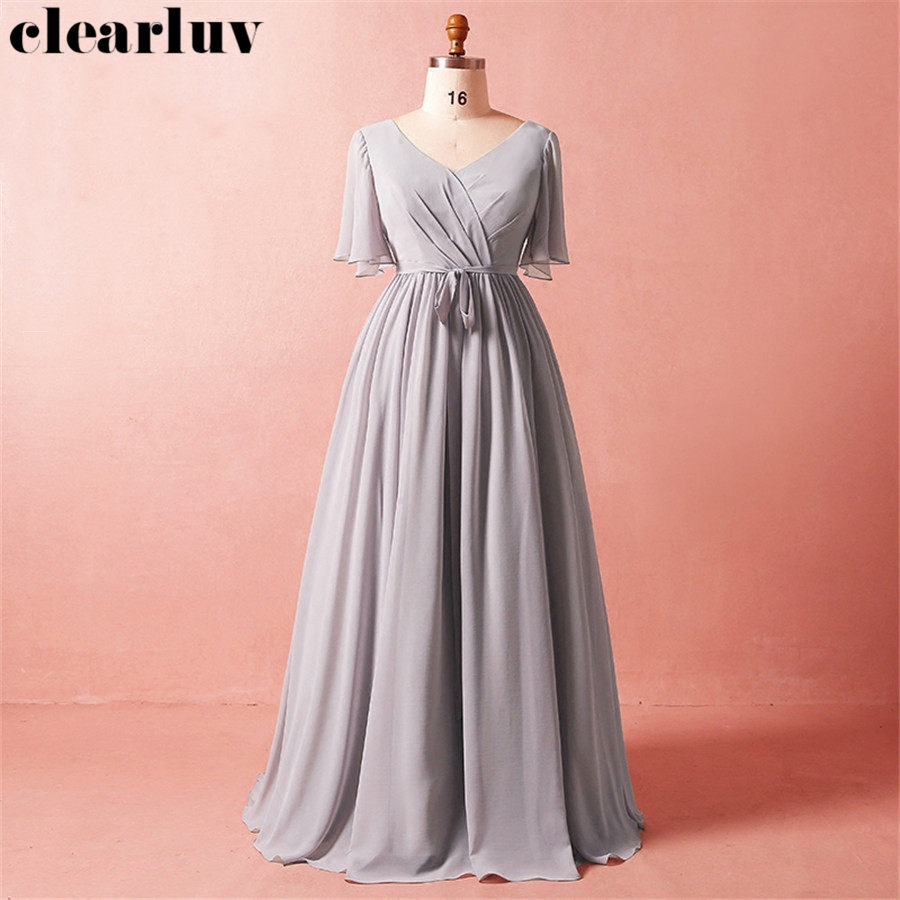 Evening Dresses Long V-neck Smoke Gray Formal Gowns T433 Short Sleeve Women Party Dresses 2019 Plus Size Lace Up Robe De Soiree