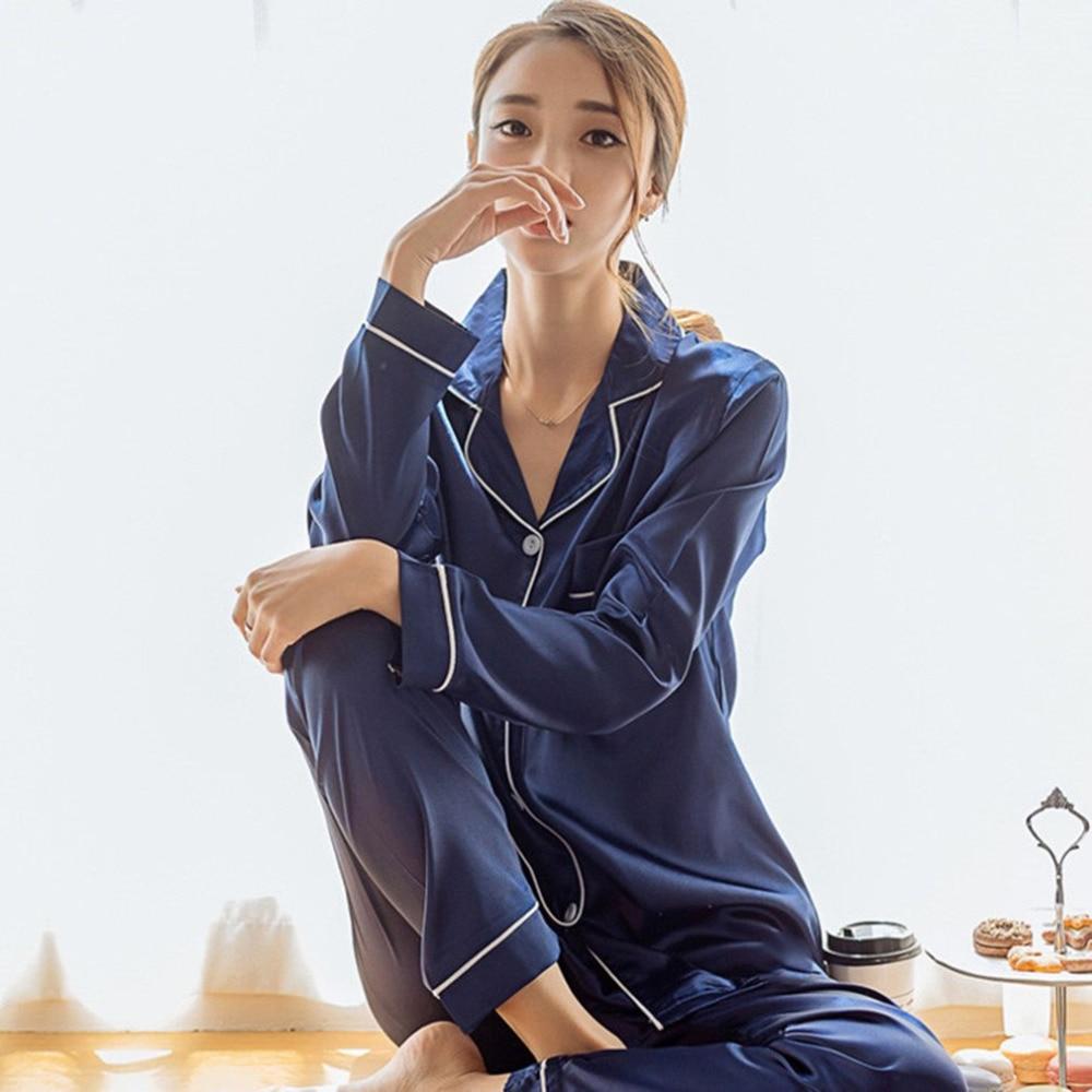 Korean Style Imitation Silk Women Pajamas Set Soft Sleepwear 2018 Spring Fashion Smooth Long Sleeve Homewear Homies Nightwear