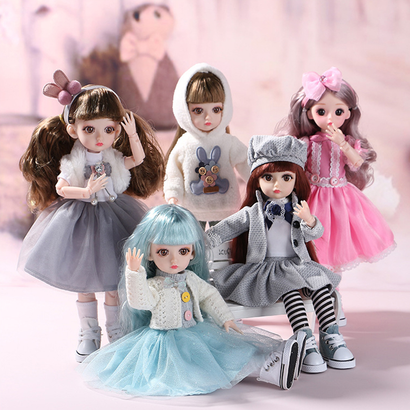 30cm BJD Doll Little Girl Cute Dress 15 Movable Jointed Dolls Princess Fahion Dress Beauty BJD Hair DIY Toy