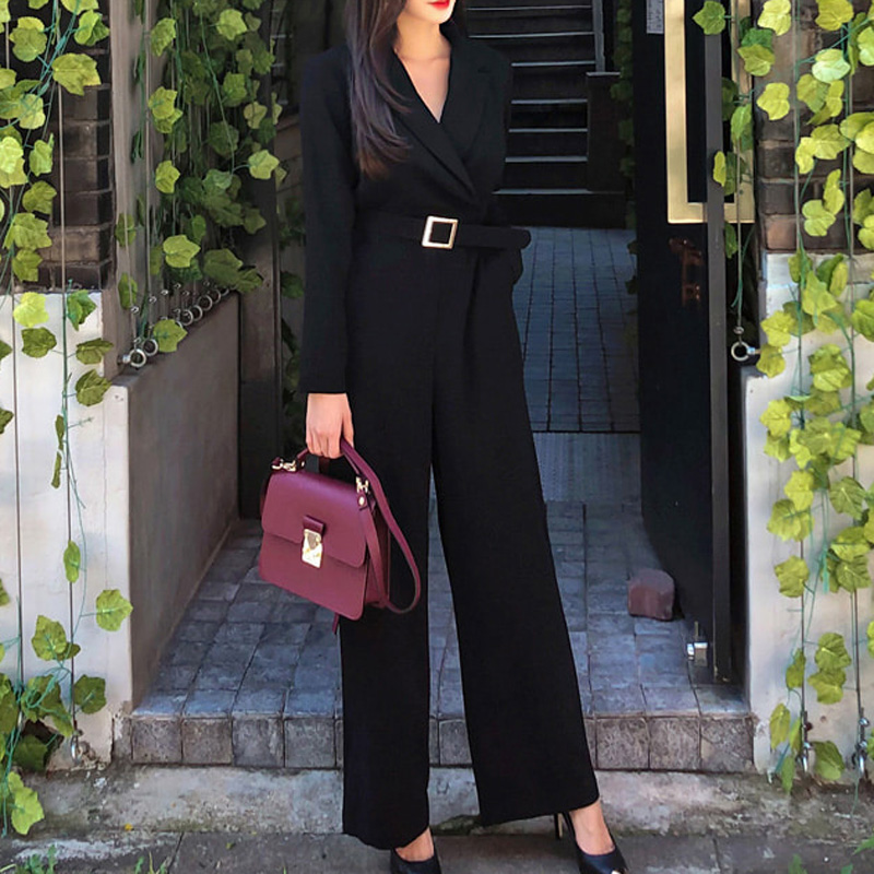 Office Lady Elegant Wide Leg   Jumpsuits   Women Autumn Solid Color Rompers Belted Waist Office Wear Playsuits Long Pants Overalls