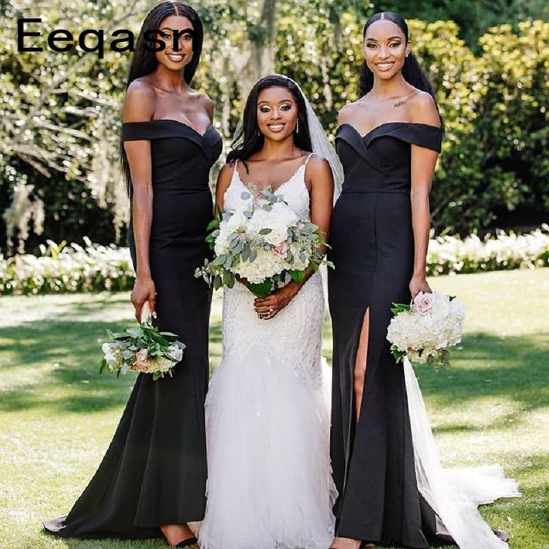 vestido madrinha Black Mermaid Long Bridesmaid Dresses 2020 Off Shoulder Wedding Guest Dress for Women Wholesale Under 50