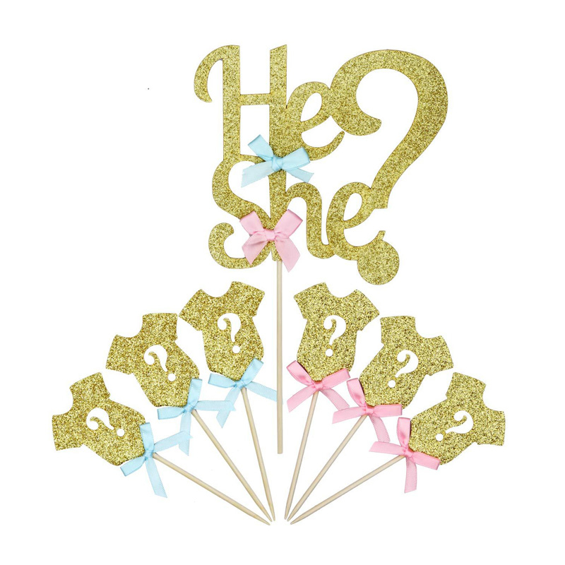 25pcs Glittering Cake Decorations Cupcake Topper Food Board Gender Reveal Party Supplies He Or She Decor Baby Shower Girl Or Boy