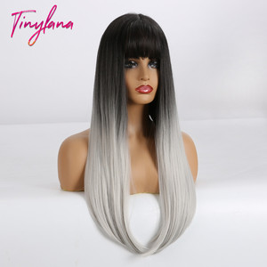 Image 3 - TINY LANA Long Colorful Straight Synthetic Wigs Black Ombre Brown with bangs for Black Women Heat Resistant Party&Cosplay Hair
