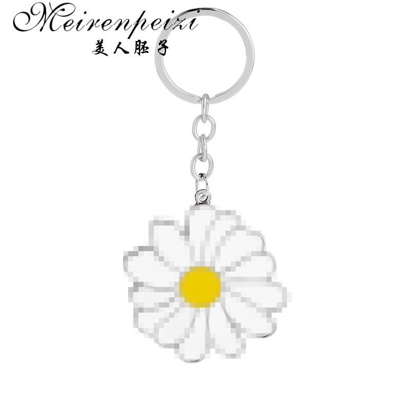 Spring Daisy Flower Gold-tone Cufflinks Crystal Tie Clip Gift Set