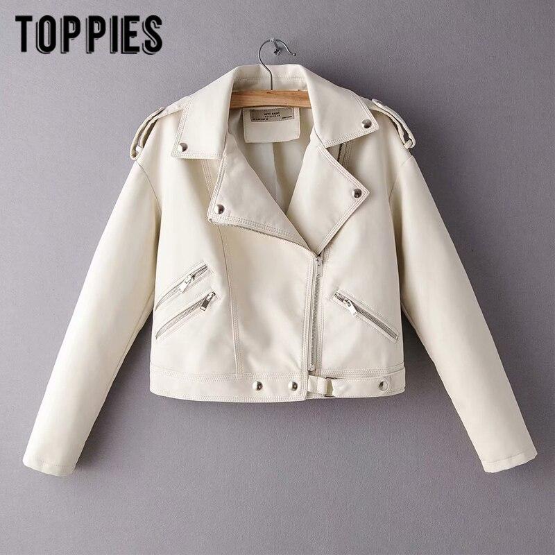 2020 Fashion White Pink Leather Jackets Women Short Jacket Bomber Coat Motorcycle Steetwear Abrigo Mujer