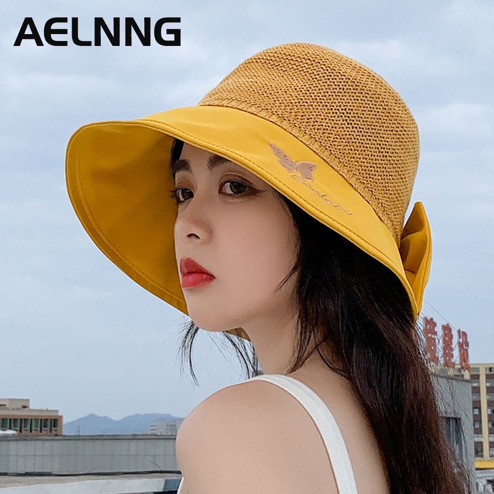 AELNNG Brand Summer Sun Protection Sunhat Women's Butterfly Embroidery Sandy Beach Bucket Hats Anti-UV Breathable Sunhat A8045