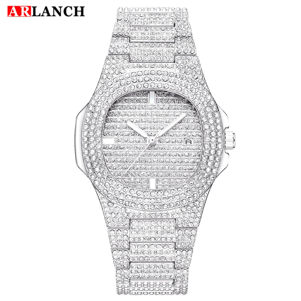 Bling Diamond Watch For Men Iced Out Luxury Mens Quartz Watches Man Ms Dress Wristwatch Silver Stainless Steel Relogio Masculino