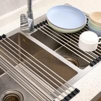 Escurridor de platos plegable, escurridor de vajilla de acero inoxidable para lavar verduras y frutas