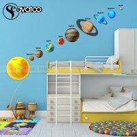 Pegatina de pared de galaxia espacial para niños, calcomanía de vinilo con diseño de Planeta, universo, estrellas, Sistema Solar, decoración educativa para el hogar