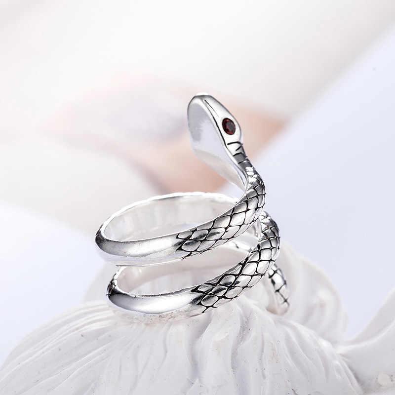 100% 925 argent Sterling à la mode serpent Animal dame doigt anneaux bijoux originaux pour les femmes ouvert fête anneau filles étudiants cadeau