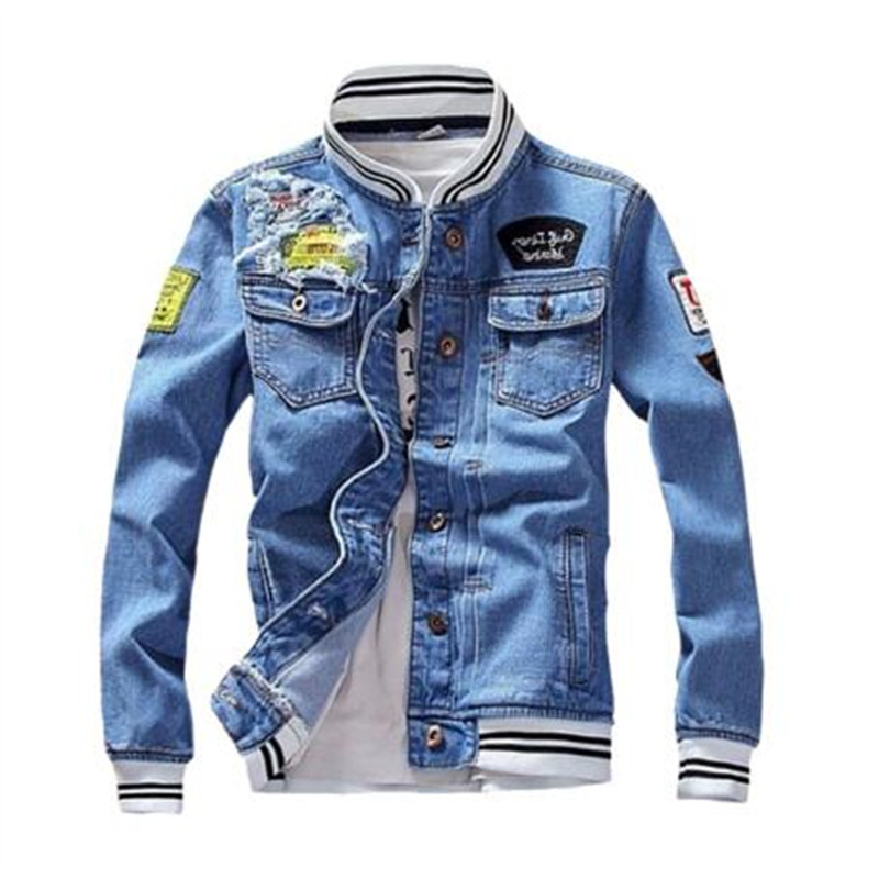 Male Streetwear Men Loose Jean Coats Zipper 2019 New Fashion Mens Denim Jacket Spring Casual Slim Fit Stand Collar Pilot Jackets
