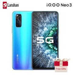 Новейшая модель; IQOO Neo 3 Мобильный телефон 5G полный нетком 4500 мА/ч, 44W мгновенная зарядка 4800MP тройной задней Камера 8G 128G NFC для сотового телефон...
