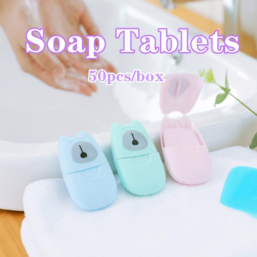 20/50pcs Per Box Portable Washing Hand Wipes Bath Travel Scented Slice Sheets Foaming Box Paper Soap Wholesale Drop Shipping