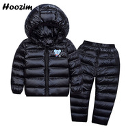 Winter Toddler Boys Clothing Set Casual Cartoon White Duck Down Jacket Black Down Pants Set Boys 2019 Suit For Girls 18M 4 4ears