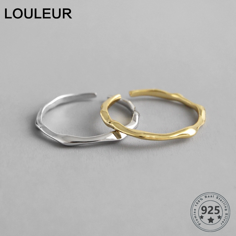 LouLeur 925 Sterling Silver Open Ring INS Cold & Cool Minimalist Face Finger Ring For Women Statement Adjustable Thin Ring