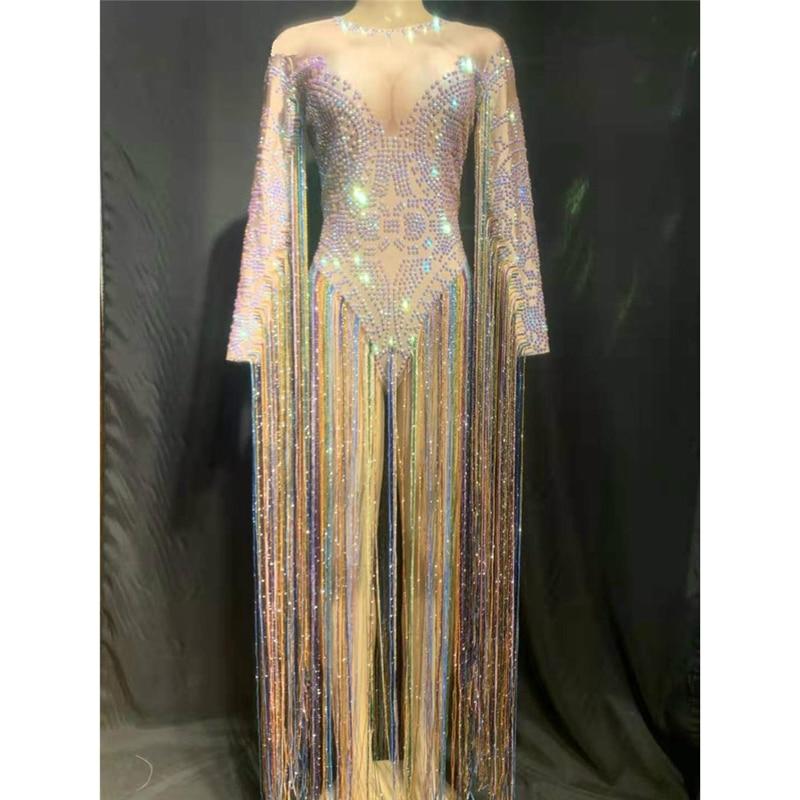 Nightclub Women Singer Dancer Costume Colorful Tassel Sleeve Rhinestones Bodysuit DJ Sexy Stage Wear Women Birthday Party Outfit