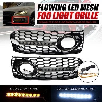 2Pcs Front Grilles Bumper Fog Light Grille Lower Side Honeycomb with DRL Grille for Audi A5 S5 2 Door Coupe 2008-2012 RS5 B8 8T0