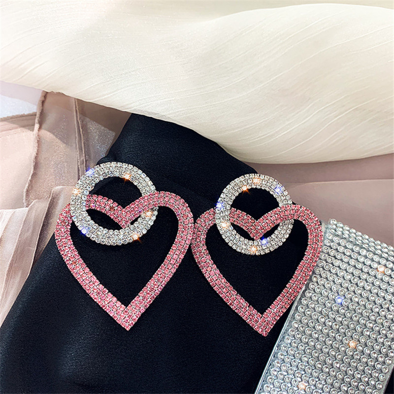 FYUAN Green Pink Heart Crystal Earrings for Women Oversize Circle Rhinestone Drop Earrings Statement Earrings Gifts