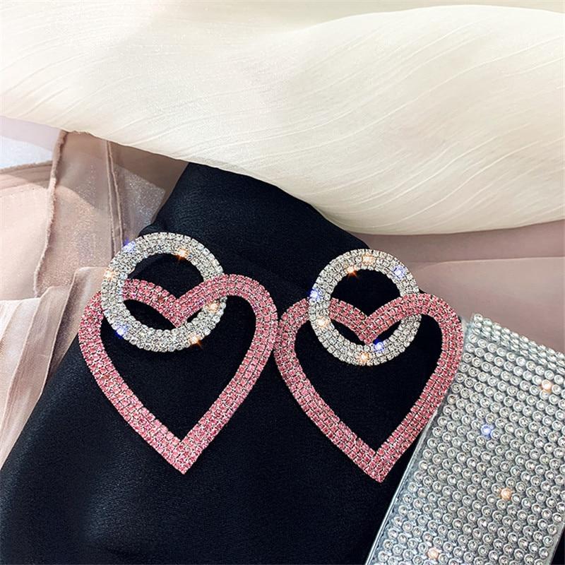 FYUAN Green Pink Heart Crystal Earrings for Women Oversize Circle Rhinestone Drop Earrings Statement Earrings Gifts
