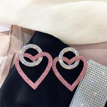 Fyuan зеленые розовые серьги в форме сердца с кристаллами для